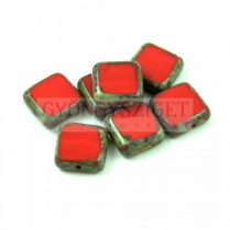 Cseh table cut gyöngy - hosszában fúrt négyzet - Red Picasso - 93200-86800 - 10x10mm