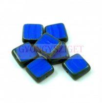 Cseh table cut gyöngy - hosszában fúrt négyzet - Sapphire Picasso - 33040-86800 - 10x10mm