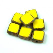 Cseh table cut gyöngy - hosszában fúrt négyzet - Yellow Picasso - 83120-86800 - 10x10mm
