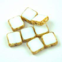 Cseh table cut gyöngy - hosszában fúrt négyzet - Alabaster Picasso - 02010-86800 - 10x10mm