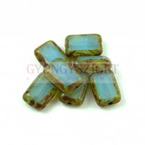 Cseh table cut gyöngy - hosszában fúrt tégla - Opal Aqua Picasso - 61000-86800 - 12x9mm