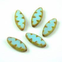 Cseh table cut gyöngy - hosszában fúrt ovális mintás - Turquoise Light Blue Picasso - 63000-86800 - 18x7mm