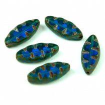Cseh table cut gyöngy - hosszában fúrt ovális mintás - Transparent Dark Aqua Picasso - 60080-86800 - 18x7mm