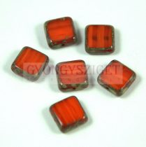 Cseh table cut gyöngy - hosszában fúrt négyzet - Opal Orange Picasso - 81260-86800 - 10x10mm