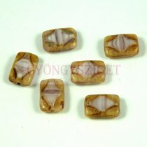 Cseh table cut gyöngy - hosszában fúrt diamond mintás tégla - Purple Alabaster Blend Picasso - 20060-02010-86800 - 12x9mm