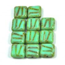 Cseh table cut gyöngy - hosszában fúrt metszett négyzet - Light Turquise Green Picasso - 63110-86800 - 10x10mm