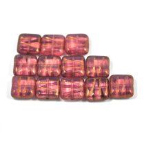 Cseh table cut gyöngy - hosszában fúrt metszett négyzet - Transparent Rose Bronze - 71010-144150 - 10x10mm