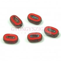 Cseh table cut gyöngy - hosszában fúrt ovális - Red Picasso - 93200-86800 - 10x6mm