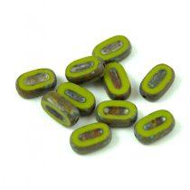 Cseh table cut gyöngy - hosszában fúrt ovális - Green Pea Picasso - 53420-86800 - 10x6mm