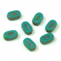 Cseh table cut gyöngy - hosszában fúrt ovális - Turquoise Green Picasso - 63130-86800 - 10x6mm