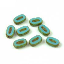 Cseh table cut gyöngy - hosszában fúrt ovális - Turquoise Blue Picasso - 63020-86800 - 10x6mm