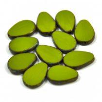 Cseh table cut gyöngy - hosszában fúrt csepp lakú - Olive Picasso - 53420-86800 - 18x12mm