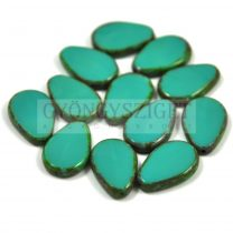 Cseh table cut gyöngy - hosszában fúrt csepp lakú - Turquoise Green Picasso - 63140-86800 - 18x12mm