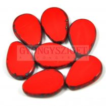 Cseh table cut gyöngy - hosszában fúrt csepp lakú - Red Picasso - 93180-86800 - 18x12mm