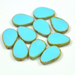 Cseh table cut gyöngy - hosszában fúrt csepp lakú - Light Turquoise Picasso - 63030-86800 - 18x12mm