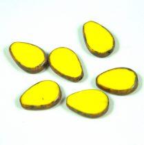 Cseh table cut gyöngy - hosszában fúrt csepp lakú - Yellow Picasso - 83120-86800 - 18x12mm