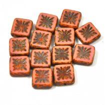 Cseh table cut gyöngy - hosszában fúrt napsugaras négyzet - Rose Picasso - 73020-86800 - 10x10mm