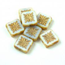 Cseh table cut gyöngy - hosszában fúrt napsugaras négyzet - 03000-86800-54302 - White Gold - 10x10mm