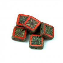 Cseh table cut gyöngy - hosszában fúrt napsugaras négyzet - 93400-86800 - Red Picasso - 10x10mm