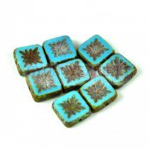 Cseh table cut gyöngy - hosszában fúrt napsugaras négyzet - 63020-86800 - Turquoise Blue Picasso - 10x10mm