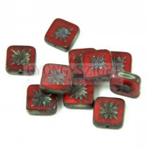 Cseh table cut gyöngy - hosszában fúrt napsugaras négyzet - 91260-86800 - Transparent Siam Picasso - 10x10mm