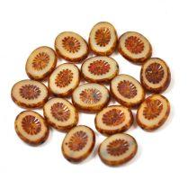 Cseh table cut gyöngy - hosszában fúrt ovális - napsugár - Ivory Picasso - 13020-8680 - 14x10mm
