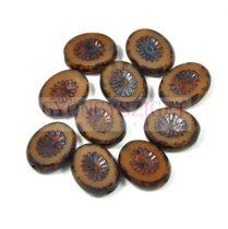 Cseh table cut gyöngy - hosszában fúrt ovális - napsugár - Dark Ivory Picasso - 13080-86800 - 14x10mm