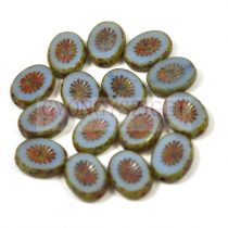 Cseh table cut gyöngy - hosszában fúrt ovális - napsugár - Opal Blue Picasso- 61400-86800 - 14x10mm