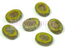 Cseh table cut gyöngy - hosszában fúrt ovális - napsugár - Opal Green Picasso - 51240-86800 - 14x10mm
