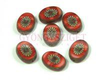 Cseh table cut gyöngy - hosszában fúrt ovális - napsugár - Orange White Blend Picasso - 81260-03000-86800 - 14x10mm