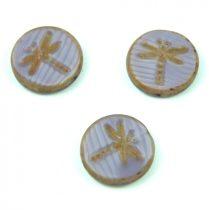 Cseh table cut gyöngy - hosszában fúrt kerek szitakötő mintás -  Purple Blend Picasso- 26016-86800 - 17 mm