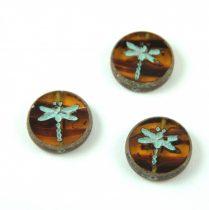 Cseh table cut gyöngy - hosszában fúrt kerek szitakötő mintás - Transparent Topaz Blend Picasso - 10070-86805-54308 - 17 mm