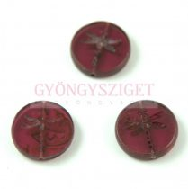 Cseh table cut gyöngy - hosszában fúrt kerek szitakötő mintás - Transparent Ruby Picasso - 70350-86800 - 17 mm