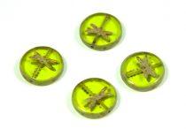 Cseh table cut gyöngy - hosszában fúrt kerek szitakötő mintás - Transparent Light Olive Picasso - 50120-86800 - 17 mm