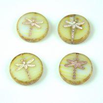 Cseh table cut gyöngy - hosszában fúrt kerek szitakötő mintás - White Yellow Blend Picasso - 08802-86800-54321 - 17 mm