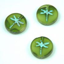 Cseh table cut gyöngy - hosszában fúrt kerek szitakötő mintás - Transparent Olive Blend Picasso - 06508-86800-54308 - 17 mm