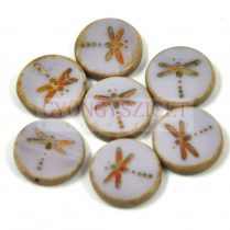 Cseh table cut gyöngy - hosszában fúrt kerek szitakötő mintás -  Light Purple Picasso- 23020-86800 - 17 mm