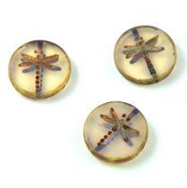 Cseh table cut gyöngy - hosszában fúrt kerek szitakötő mintás - Transparent Opal Ivory Picasso - 21000-86800 - 17 mm