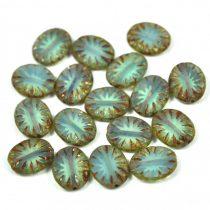 Cseh table cut gyöngy - hosszában fúrt ovális - sugár - Opal Aqua Picasso- 31000-86800 - 14x10mm