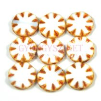Cseh table cut gyöngy - hosszában fúrt virág - White Picasso - 03000-86800 - 14mm