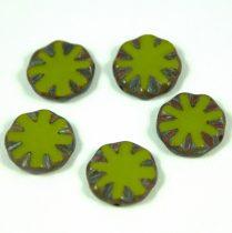 Cseh table cut gyöngy - hosszában fúrt virág - Green Picasso - 53420-86805 - 14mm