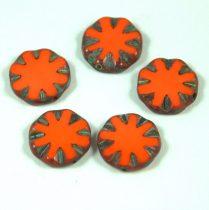 Cseh table cut gyöngy - hosszában fúrt virág - Orange Picasso - 93130-86805 - 14mm
