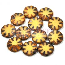 Cseh table cut gyöngy - hosszában fúrt virág - Ivory Picasso - 13020-86800 - 14mm