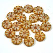 Cseh table cut gyöngy - hosszában fúrt virág - Ivory Opal Picasso - 06018-86800 - 12mm