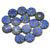 Cseh table cut gyöngy - hosszában fúrt virág - Sapphire Picasso - 33050-86800 - 12mm