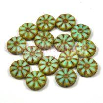 Cseh table cut gyöngy - hosszában fúrt virág - Opal Mint Picasso - 56207-86800 - 12mm