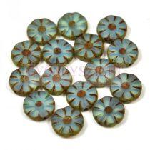 Cseh table cut gyöngy - hosszában fúrt virág - Opal Aqua Picasso - 61000-86800 - 12mm