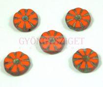 Cseh table cut gyöngy - hosszában fúrt virág - Orange Picasso - 93130-86800 - 12mm