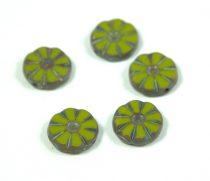 Cseh table cut gyöngy - hosszában fúrt virág - Green Picasso - 53420-86800 - 12mm