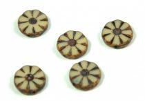 Cseh table cut gyöngy - hosszában fúrt virág - Ivory Picasso - 13020-86800 - 12mm